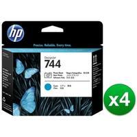 HP 744 Photo Black & Cyan DesignJet Printhead (F9J86A)(4-Pack)