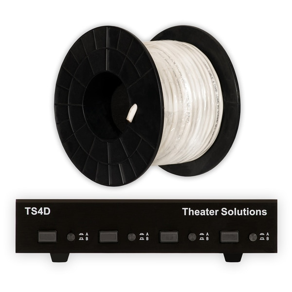 Theater Solutions TS4D Dual Input 4 Zone Speaker Selector Box & C100-16-4 Wire