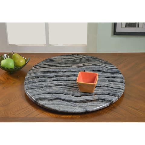 """Somette Lazy Susan 24"""" Round Gray Marble Rotating Tray - 24-inch"""