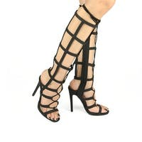 Qupid Womens Glee-237 Gladiator Heel Sandals Black - Black Snake