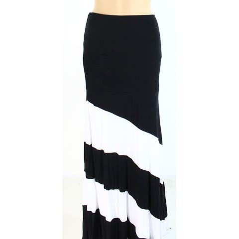 INC Women's Black White Size Large PL Petite Maxi Convertible Skirt