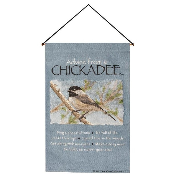"""""""Advice From A Chickadee"""" Light Blue and White Verse Printed Wall Tapestry 16"""" X 26"""" - N/A"""