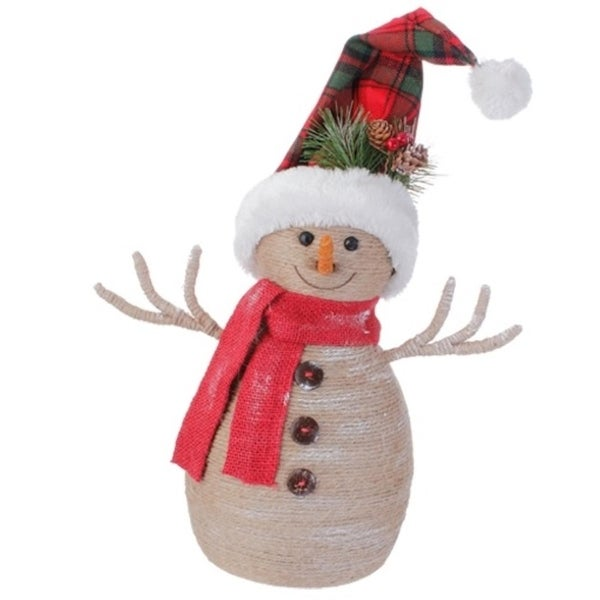 """13.25"""" Country Cabin Burlap Snowman with Plaid Snow Cap and Red Scarf Christmas Decoration"""
