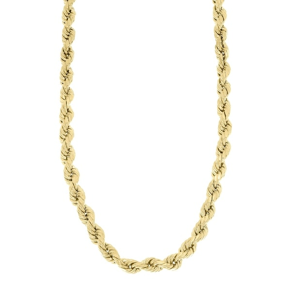 Mcs Jewelry Inc 10 KARAT YELLOW GOLD HOLLOW ROPE CHAIN NECKLACE 4mm
