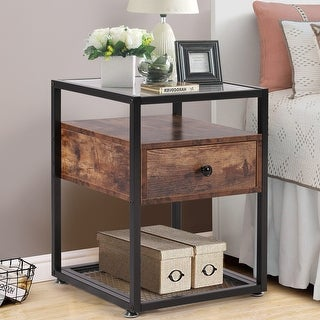 VECELO bedside table 1 drawer bedside table glass bedside table with wooden drawer(Brown/Black 2 Option)