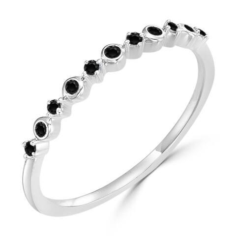 Auriya Petite Stackable Ultra-thin Accent Black Diamond Band 1/10ctw 10K Gold