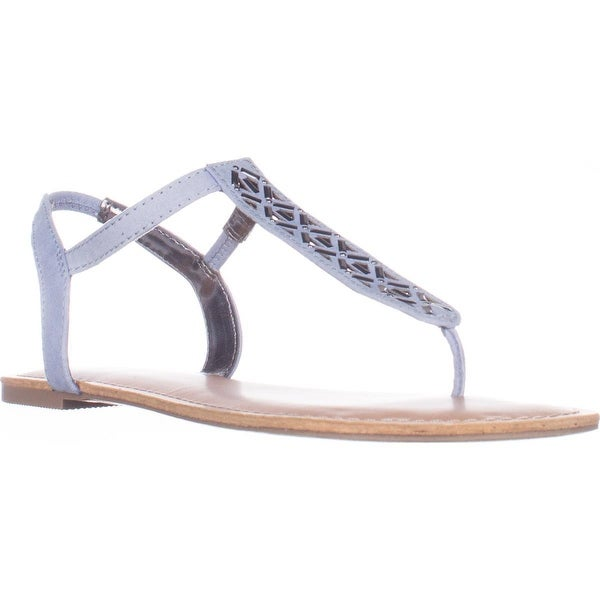 MG35 Skyler Flat T-Strap Thong Sandals, Powder Blue