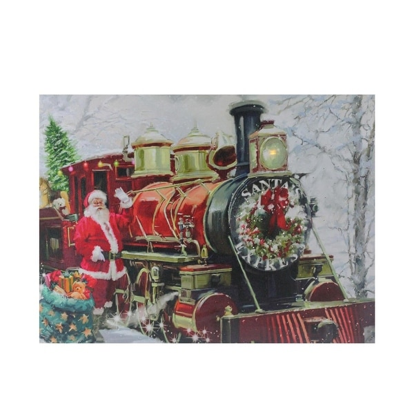 """Fiber Optic and LED Lighted """"Santa's Express"""" Canvas Wall Art 12"""" x 15.75"""" - RED"""