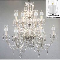 Crystal Chandelier Lighting With Candle Votives H27 x W32 For Indoor/Outdoor Use