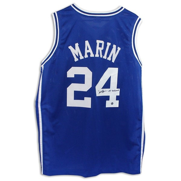 Jack Marin Duke Blue Devils Autographed Blue Jersey Inscribed 3X Final 4