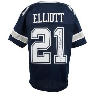 Ezekiel Elliott Signed Custom Blue Pro Style Football Jersey BAS