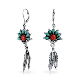 Bling Jewelry Sterling Silver Synthetic Turquoise Coral Feather Earrings - Blue