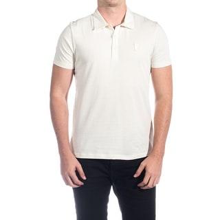 Versace Men Soft Cotton Polo Shirt Cream