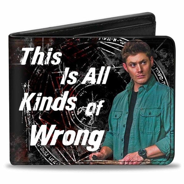Dean Pose1 This Is All Kinds Of Wrong + Supernatural Black Grays Red White Bi-Fold Wallet - One Size Fits most