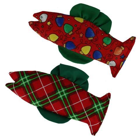 Ascentix 2 Pack Organic Holiday Design Catnip Catfish Cat Toys - one size