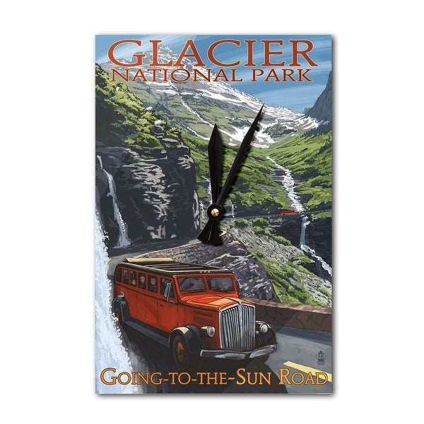 Glacier Park MT Going-To-The-Sun Road - LP Artwork (Acrylic Wall Clock) - acrylic wall clock