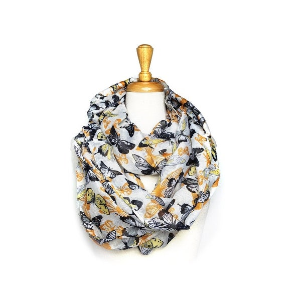 Butterfly Print Light Weight Soft Large Infinity Scarf - size:circumference 68 inches x 24 inches
