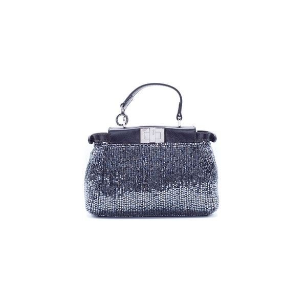 064202ea2e22 Shop Fendi Women s Black Embellished Micro Peekaboo Shoulder Bag ...