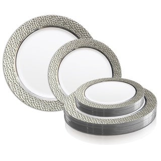 Link to Silver Hammered Rim Disposable Plastic Plate Packs - Party Supplies Similar Items in Dinnerware