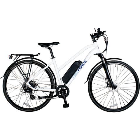 FreeForce The Indy 18-in. Electric Commuter Bike with Thumb Throttle and Pedal Assist in White - 18-inch