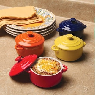 Multi Colored Mini Casserole Pots - Set of 4 - 8-ounce Stoneware Dishes