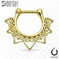 Tribal Fan 316L Surgical Steel Septum Clicker (Sold Ind.) - Thumbnail 3