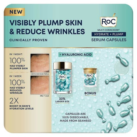 Roc Hydrate And Plump Night Serum Capsules, 50 Count