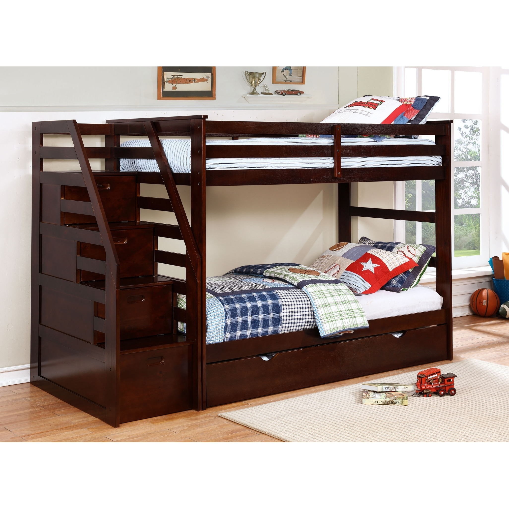 Picture of: Fortis Twin Over Twin Bunk Bed With Trundle And Storage Steps Overstock 11501922
