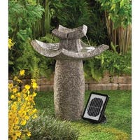 Zingz & Thingz 57070059 Solar Asian Temple Pagoda Zen bird bath Outdoor Garden patio Fountain