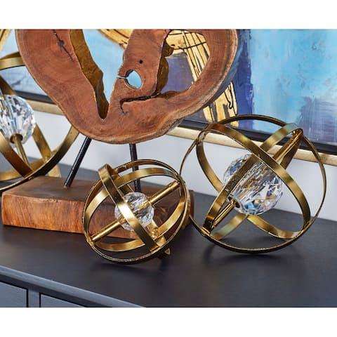 Benzara Goldtone Metal Acrylc 4-inch, 6-inch, 8-inch Orbs (Pack of 3)