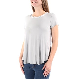 ALFANI $35 Womens 1388 Gray Jewel Neck Short Sleeve Hi-Lo Casual Top M B+B