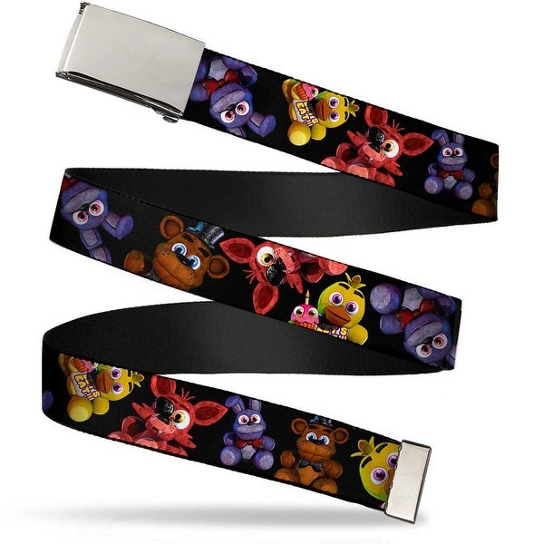 """Blank Chrome 1.0"""" Buckle Five Nights At Freddy's 4 Plushies Scattered Black Web Belt 1.0"""" Wide - S"""