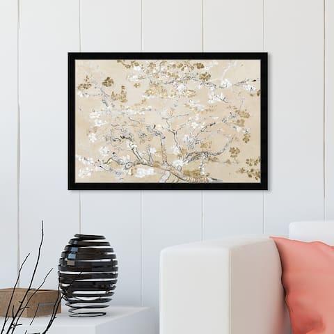 Oliver Gal 'Van Gogh in Golden Blossoms Inspiration' Floral and Botanical Framed Wall Art Prints Gardens - Gold, White