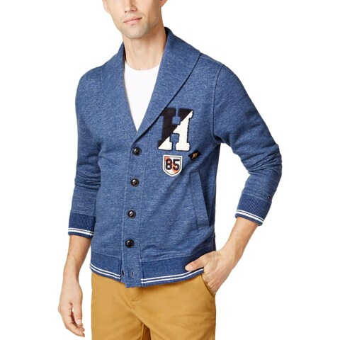 Tommy Hilfiger Mens Cardigan Sweater Patchwork Heathered