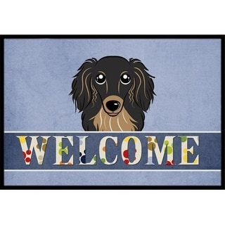 Carolines Treasures BB1399JMAT Longhair Black And Tan Dachshund Welcome Indoor & Outdoor Mat 24 x 36 in.