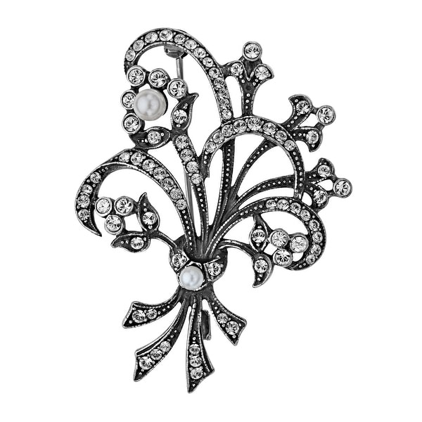 Van Kempen Art Nouveau Pearl Bouquet Brooch with Swarovski Crystals in Sterling Silver - White