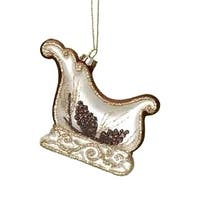 "4"" In the Birches Hand Blown Glass Sleigh Christmas Ornament - WHITE"