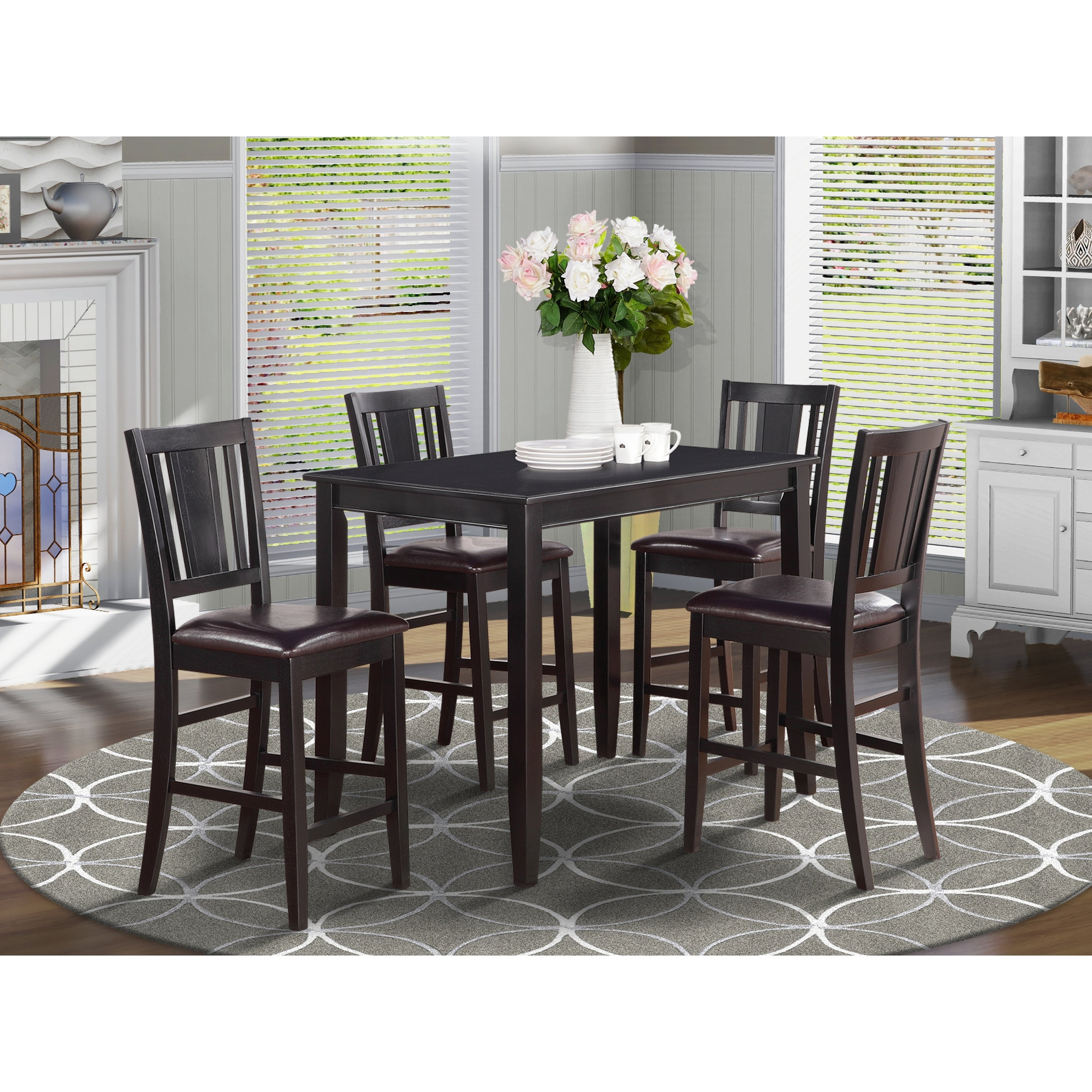 Black Counter Height 9 piece Dining Set Finish Option