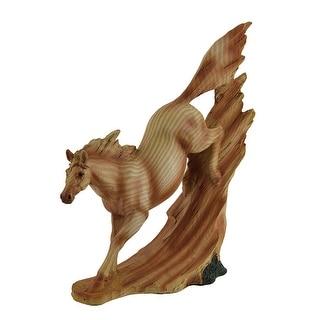 Dashing Descent Horse Running Downhill Wood Finish Statue - Tan