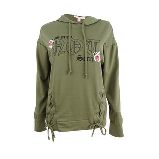 Pretty Rebellious Juniors' Lace-Up Graphic Hoodie (S, Burnt Olive) - Burnt Olive - s