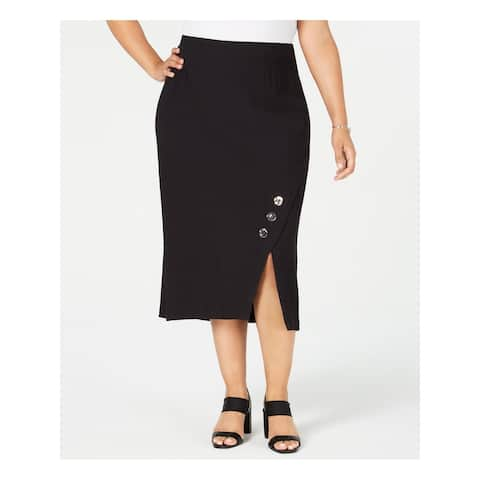 JM COLLECTION Womens Black Midi A-Line Wear To Work Skirt Size 0X