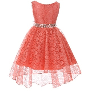 Flower Girl Dress Hi-Low Style Lace Allover Coral MBK 360