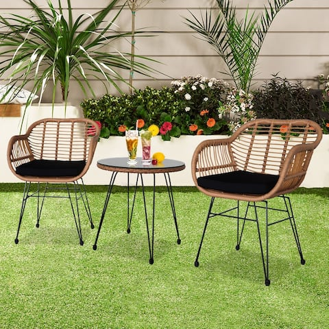 Oshion 3Pcs Wicker Rattan Patio Conversation Set with Tempered Glass Table