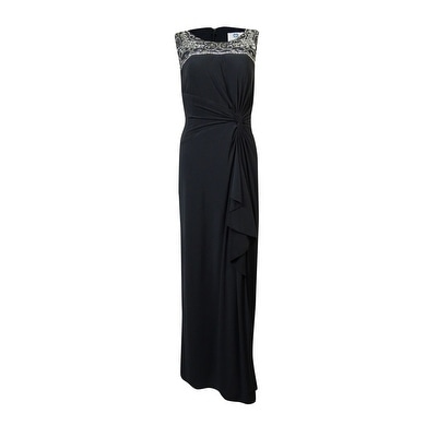Patra Women's Embellished Beaded Cascade Jersey Gown