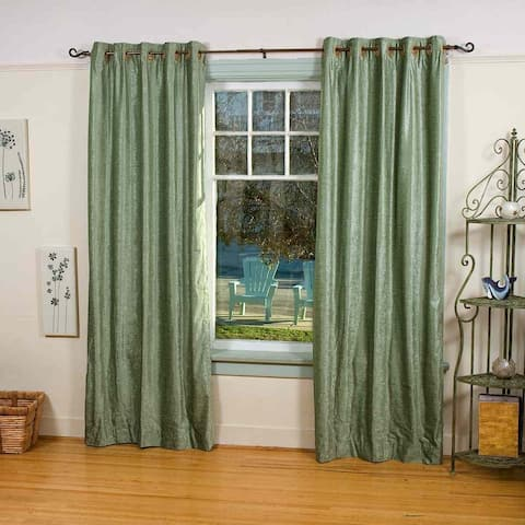 Olive Green Ring / Grommet Top Velvet Curtain / Drape / Panel - Piece