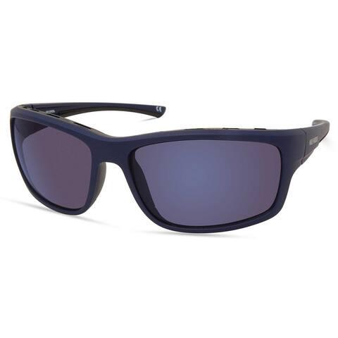 Harley-Davidson Men's Venting Wrap Sunglasses, Matte Blue Frame/Blue Mirror Lens - 63-16-130