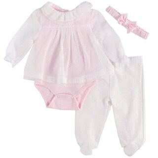 Harry & Violet Baby Girls Pink Tunic Bodysuit Pant Headband 3 Pc Set