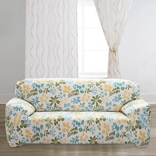 "Unique Bargains Stretch 3 Seats Flower Pattern Sofa Cover Slipcovers Couch Protector Beige 74"" - 90"""