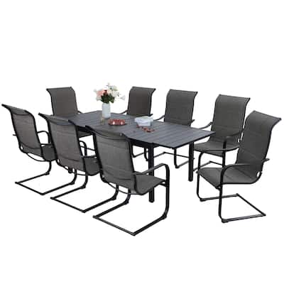 Sophia & William Patio Dining Set 9/7 Pieces Outdoor Metal Furniture Set, 8/6 C Spring Motion Chairs and 1 Expandable Table