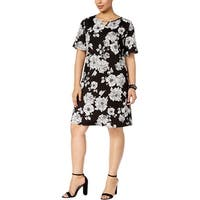 NY Collection Womens Plus Mini Dress Bell Sleeve Keyhole